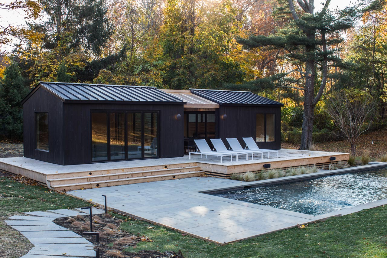 This Shelter Island residence used reSAWN's KOI shou sugi ban charred cypress exterior siding